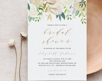 Bridal Shower Invitation Template, Greenery Wedding Shower Invite, INSTANT DOWNLOAD, 100% Editable Text, Printable, Boho Florals #021-114BS