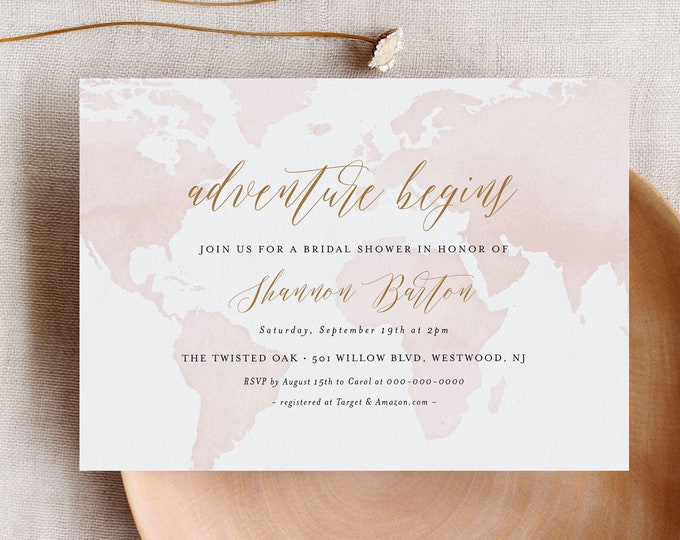 Bridal Shower Invitation, Adventure Begins, Destination Wedding Shower Invite, World Map, Geometric, Editable Template, Printable #185BS