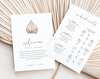 Bohemian Welcome Letter & Timeline Template, Wedding Order of Events, Itinerary, Dried Palm, Instant Download, Editable, Templett 0022-174WB