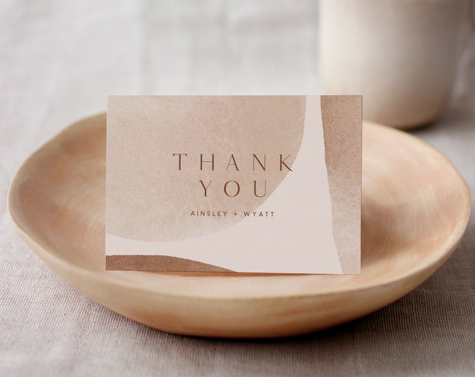 Modern Abstract Art Thank You Card, Minimalist Earthy Wedding Flat or Folded Note, Editable Template, Instant Download, Templett 0016-173TYC