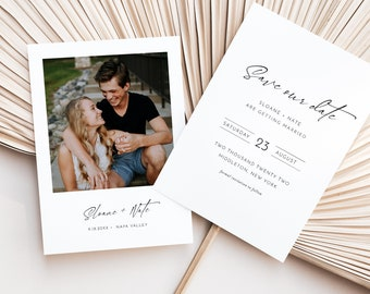 Photo Save the Date Template, 100% Editable, Modern Minimalist Wedding Date Card, Simple, Clean, Instant Download, Templett, 5x7 #0023-185SD