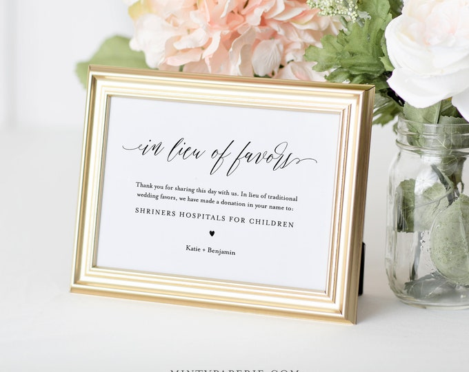 In Lieu of Favors Sign, Minimalist Wedding Donation Sign, Charity Card, Editable Template, Printable, Instant Download, Templett #038-04S