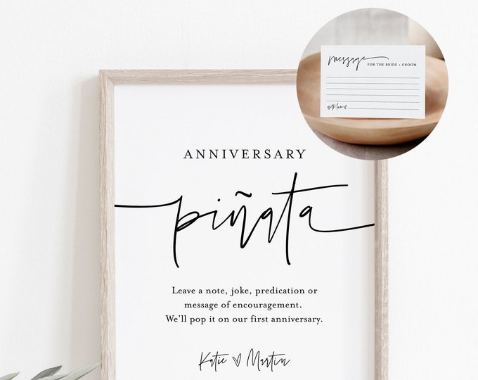 Anniversary Piñata Sign and Advice Card, Wedding Guestbook Alternative, Wedding Pinata Sign, Editable Template, Instant Download  #0009-69S