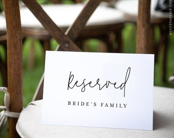 Minimalist Reserved Seat Card, Modern Wedding Reserved Seating Tent Card, Editable Template, INSTANT DOWNLOAD, Templett, 5.5x8.5 #095A-105RS