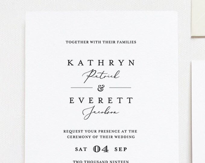 Self-Editing Wedding Invitation Set, INSTANT DOWNLOAD, 100% Editable Template, Minimalist Invite, RSVP & Detail, Printable, Templett #045A