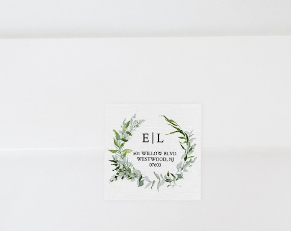 Wedding Address Label Template, Favor Tag, Return Address Sticker, INSTANT DOWNLOAD, Editable, Printable, Greenery Wreath Embem #016-102AL