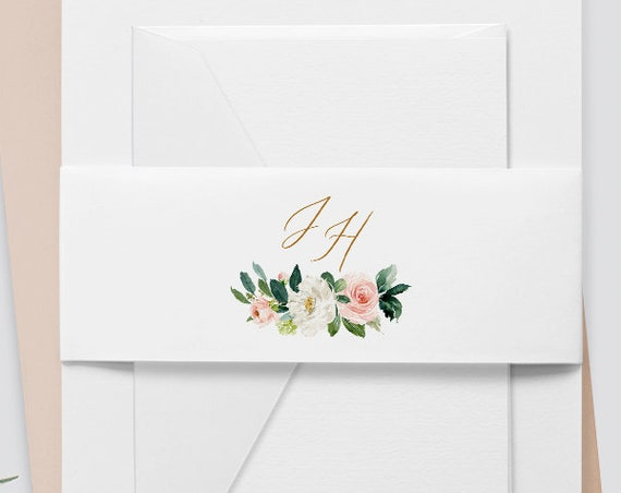 Wedding Belly Band Template, Instant Download, Monogram Watercolor Boho Floral, 100% Editable Text, Wedding Invitation Wrap, DIY  #043-105BB