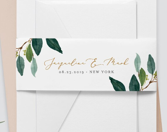 Belly Band Wedding Invitation Template, Instant Download, Greenery Watercolor, 100% Editable, Wedding Invitation Wrap, DIY  #044-102BB