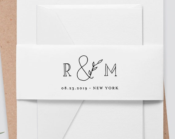 Belly Band Wedding Invitation Template, INSTANT DOWNLOAD, Monogram, 100% Editable, DIY Bellyband Printable, Simple, Modern #042-103BB
