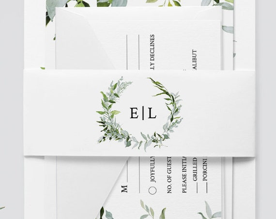 Belly Band Template, Instant Download, Wedding Monogram Belly Band, Greenery Wreath, 100% Editable, Invitation Wrapper, DIY  #016-101BB