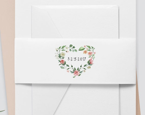 Wedding Belly Band Template, Wedding Invitation Belly Band, Floral Heart Wreath, INSTANT DOWNLOAD, 100% Editable, DIY, Printable #058-110BB