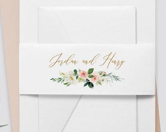 Belly Band Printable, Instant Download, Watercolor Floral, Boho Wedding 100% Editable Template, Wedding Invitation Wrap, DIY  #043-107BB