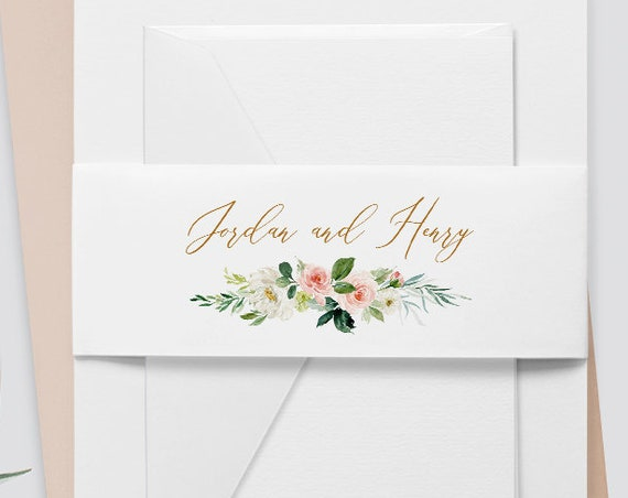 Belly Band Printable, Instant Download, Watercolor Floral, Boho Wedding 100% Editable Template, Wedding Invitation Wrap, DIY  #043-107BB
