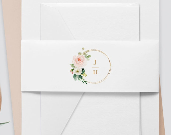 Monogram Belly Band Template, Instant Download, Watercolor Floral, Boho Wedding 100% Editable Text, Wedding Invitation Wrap, DIY  #043-106BB