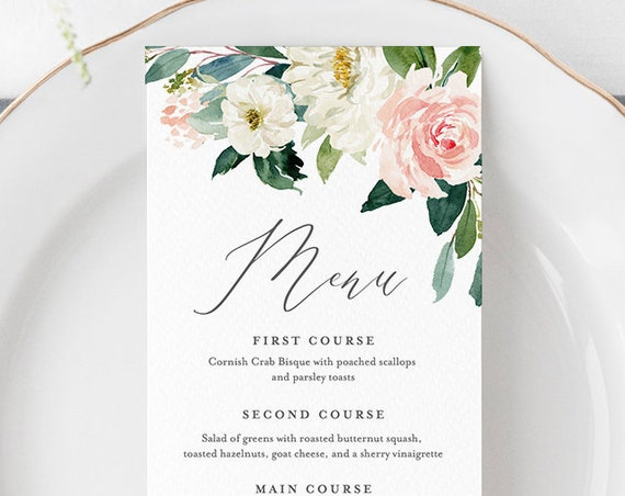 Wedding Menu Template, INSTANT DOWNLOAD, Printable Dinner Menu Card, 100% Editable, Blush Florals, Boho Wedding, Templett, DIY #043-122WM