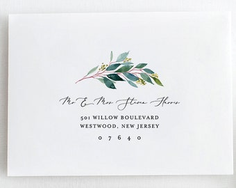Greenery Envelope Template, DIY Wedding Address Printable, Instant Download, 100% Editable Text, Templett, A1 and A7 Sizes #044-114EN