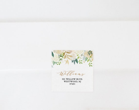 Return Address Label Template, Wedding Favor Tag, Address Sticker, INSTANT DOWNLOAD, Editable, Printable, Floral Greenery, Boho #021-103AL
