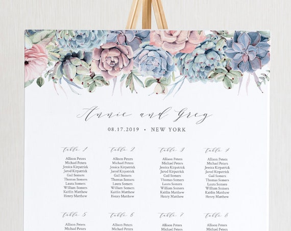 Succulent Seating Chart Template, Printable Wedding Seating Sign, Instant Download, 100% Editable, US & UK Poster Sizes, Templett #041-225SC