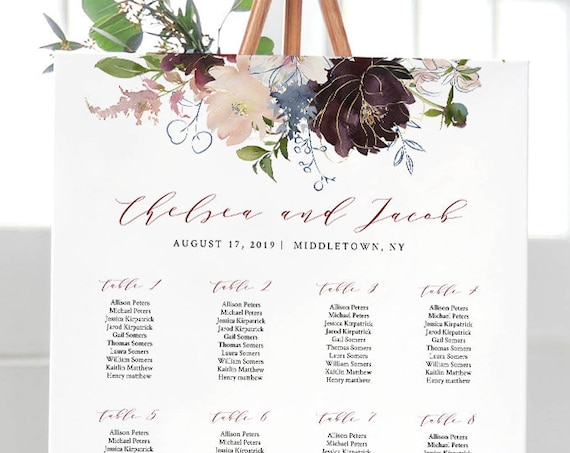 Floral Seating Chart Template, Printable Boho Wedding Seating Sign, 100% Editable, INSTANT DOWNLOAD, Templett, DIY 18x24, 24x36 #040-221SC