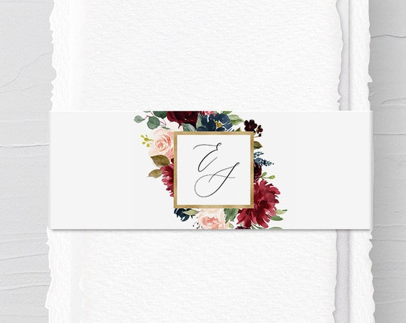 Belly Band Template, Instant Download, Printable Boho Floral Monogram Belly Band, 100% Editable Text, Wedding Invitation Wrapper #062-111BB
