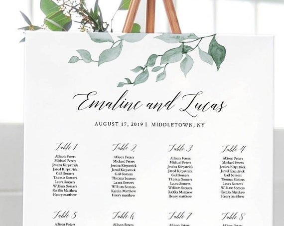 Wedding Seating Chart Template, Watercolor Greenery Seating Plan, 100% Editable, INSTANT DOWNLOAD, Delicate Leaves, 18x24 & 24x36 #019-203SC