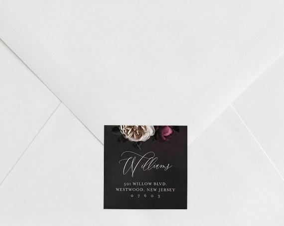 Address Label, Favor Tag, Wedding Envelope Sticker, Return Address Template, Vintage Floral, INSTANT DOWNLOAD, 100% Editable Text #009-107AL