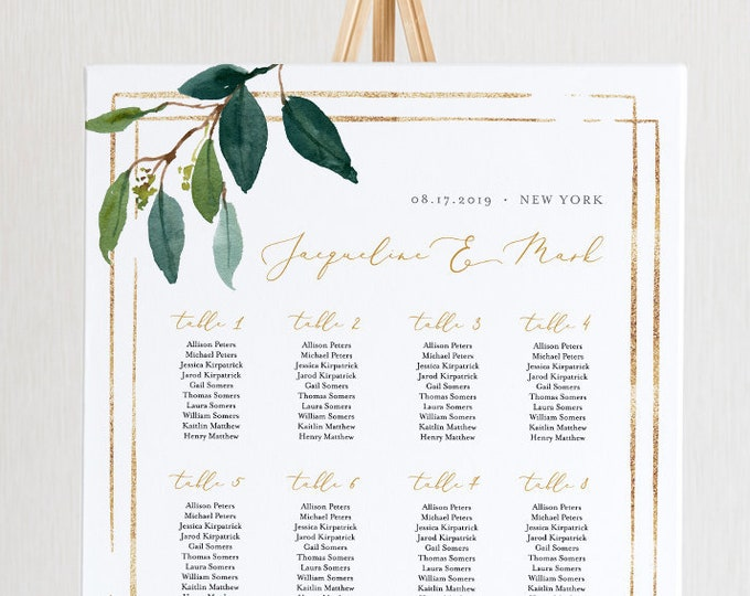 Greenery Seating Chart Template, Printable Wedding Seating Sign, Instant Download, 100% Editable, Boho, US & UK Poster Sizes #044-224SC