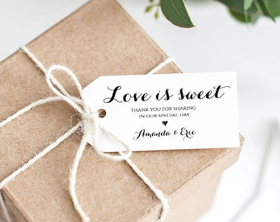Wedding Favor Tag Template, Love is Sweet Tag, Printable Wedding Thank You Tag, Custom Tag, Instant Download, 100% Editable, DIY #NC-101FT