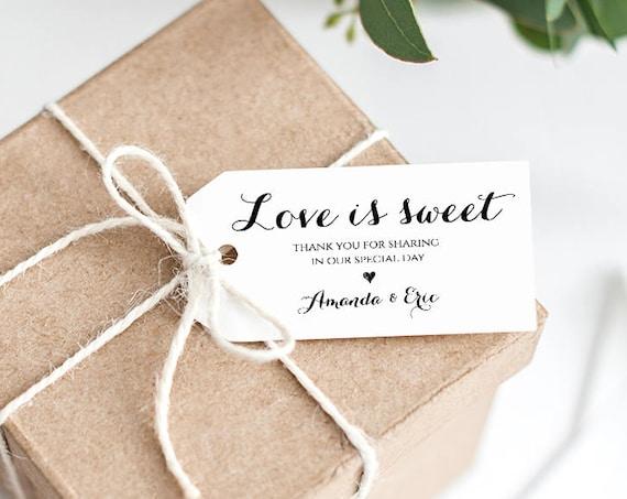 Wedding Favor Tag Template, Love is Sweet Tag, Printable Wedding Thank You Tag, Custom Tag, Instant Download, 100% Editable, DIY #NC-101FT