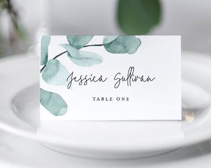 Self-Editing Place Card Template, Printable Wedding Escort, INSTANT DOWNLOAD, 100% Editable, Seating Card, Greenery Eucalyptus #049-120PC