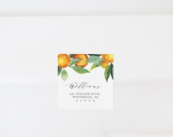 Citrus Orange Envelope Label Template, Printable Return Address Sticker, Editable Wedding Favor Tag, Instant Download, Templett #084-108AL