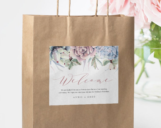 Self-Editing Welcome Bag Label Template, INSTANT DOWNLOAD, Hotel Bag Sticker, Succulent Welcome Box Printable, 100% Editable DIY #041-105WBL