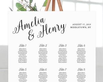 Printable Wedding Seating Chart, Seating Plan, Table Assignment, Custom, 100% Editable, Instant Download, Digital, DIY, Templett #012-201SC
