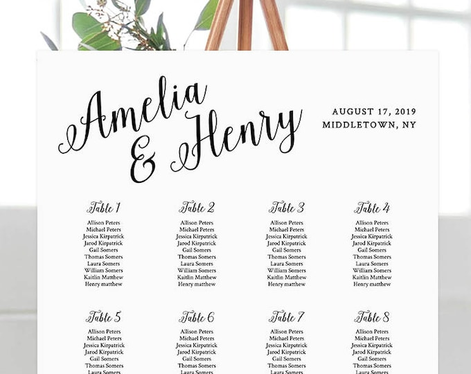 Printable Wedding Seating Chart, Seating Plan, Table Assignment, Custom, 100% Editable, Instant Download, Digital, DIY, Templett #012-201SC