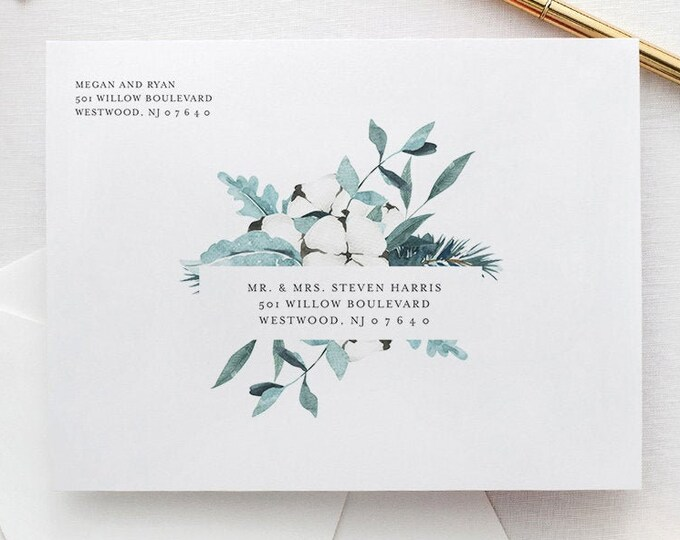 Winter Envelope Template, Cotton & Greenery Wedding Address Printable, Holiday, Instant Download, Editable, Templett, A1, A7 Sizes 091-125EN