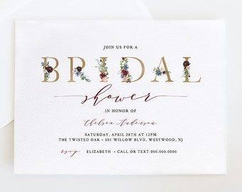 Bridal Shower Invitation Template, Printable Wedding Shower Invite, 100% Editable Text, INSTANT DOWNLOAD, Boho Floral & Gold #040-149BS