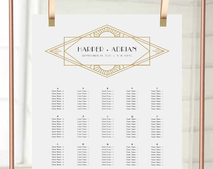 Art Deco Seating Chart Poster, Minimal Retro Modern Wedding Seating Sign, Instant Download, Editable Template, Templett #0021-285SC