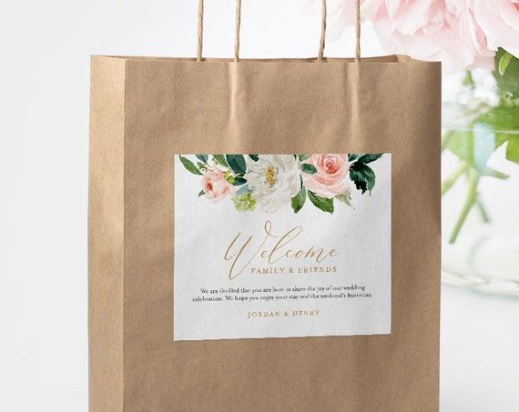 Welcome Bag Label Template, Printable Hotel Bag Sticker, Welcome Box Label, INSTANT DOWNLOAD, 100% Editable, Blush Florals, DIY #043-104WBL