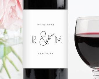 Self-Editing Wine Label Template, INSTANT DOWNLOAD, 100% Editable, Printable Bottle Sticker, Monogram, Minimalist, Simple, Kraft #042-107WL