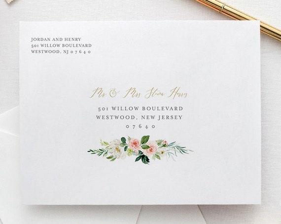 Boho Envelope Template, Blush Floral & Greenery Wedding Address Printable, Instant Download, Editable, Templett, A1, A7 Sizes #043-123EN