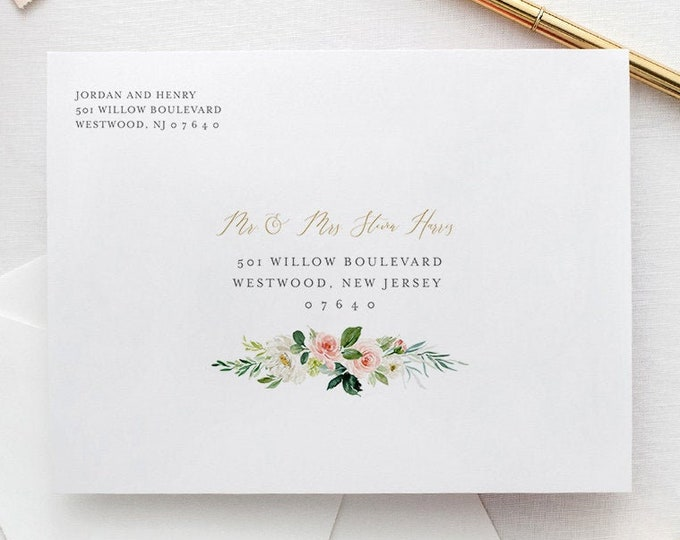 Boho Envelope Template, Blush Floral & Greenery Wedding Address Printable, Instant Download, Editable, Templett, A1, A7 Sizes #043-123EN