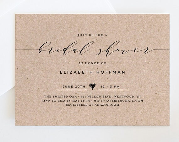 Bridal Shower Invitation Template, Rustic Kraft Wedding Shower Invite, INSTANT DOWNLOAD, 100% Editable, Printable, Simple Modern #037-148BS