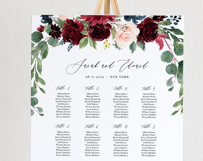 Wedding Seating Chart Template, Printable Boho Merlot & Blush Floral Seating Sign, 100% Editable Text, INSTANT DOWNLOAD #062-227SC