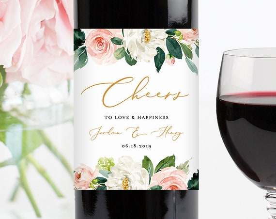 Self-Editing Wine Bottle Label Template, Printable Wedding Wine Sticker, INSTANT DOWNLOAD, 100% Editable Text, Boho Blush Floral #043-109WL