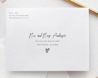 Modern Envelope Template, Hand Script Address Envelope, Printable, Instant Download, 100% Editable Template, Digital, A7, A6, A1 #090-155EN