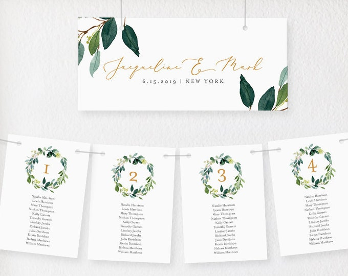 Seating Chart Cards, Table Seating Template, Greenery Wedding Seating Plan, INSTANT DOWNLOAD, 100% Editable, Printable, Templett #044-108SP