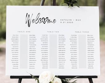 Banquet Seating Chart Template, Wedding Seating Plan, Minimalist Bridal Shower Seating Chart, Editable, Templett, US & UK Sizes #090-248SC