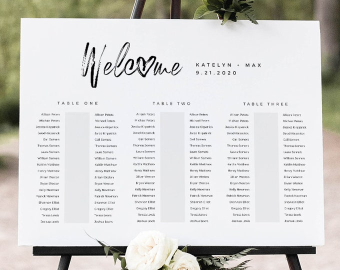 Banquet Seating Chart Template, Wedding Seating Plan, Minimalist Bridal Shower Seating Chart, Editable, Templett, US & UK Sizes #090-248SC