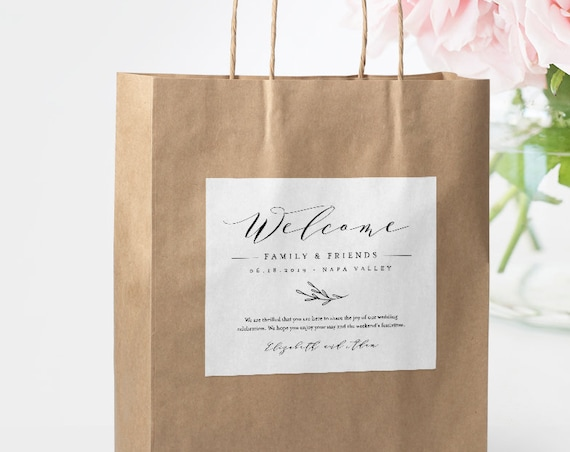 Self-Editing Welcome Bag Label, Printable Hotel Bag Sticker, Welcome Box Label Template, INSTANT DOWNLOAD, 100% Editable, DIY #037-103WBL