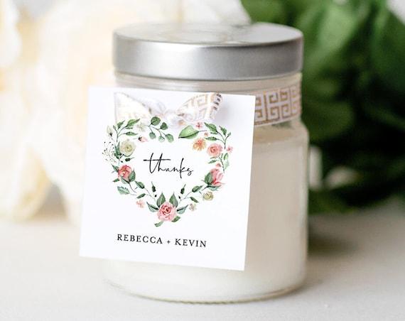 Favor Tag Template, Printable Wedding / Bridal Shower Favor Label or Sticker, Instant Download, 100% Editable, Heart Wreath #058-109SF